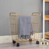 鐵藝臟衣籃北歐金屬筐帶輪子酒店浴室收納桶工業風臟衣簍【白嶼家居】
