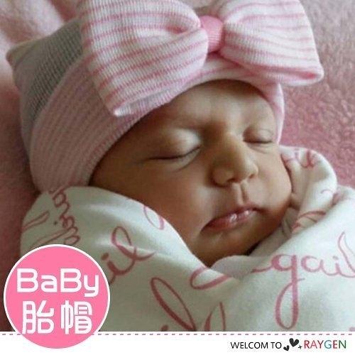 歐美嬰兒蝴蝶結針織套頭帽 胎帽