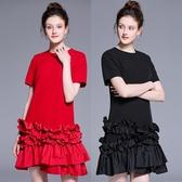 中大尺碼洋裝 圓領短袖荷葉壓摺拼接氣質連衣裙 2色  L-5XL #bl2604011 ❤卡樂❤