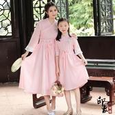 漢服古裝復古刺繡漢元素古風七分公主袖連身裙親子服 降價兩天