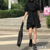 裙子女夏新款韓版百搭黑色繫帶高腰洋裝學生chic小黑裙短裙 提拉米蘇