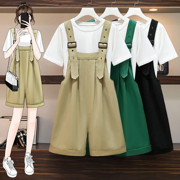 VK旗艦店 韓國風大碼T恤寬口背帶褲時尚套裝短袖褲裝