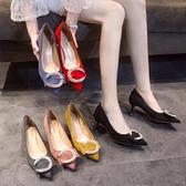 歐洲站潮流女鞋新款春季中跟單鞋時尚外穿淺口細跟潮鞋一腳蹬 雙12全館免運