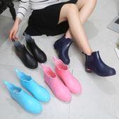 雨靴 女士水鞋時尚雨鞋韓國可愛雨靴短筒成人低幫加絨套鞋防水防滑水靴 新品