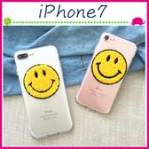Apple iPhone7 4.7吋 Plus 5.5吋 毛絨笑臉貼片手機殼 透明背蓋 全包邊軟殼保護套 TPU手機套 保護殼