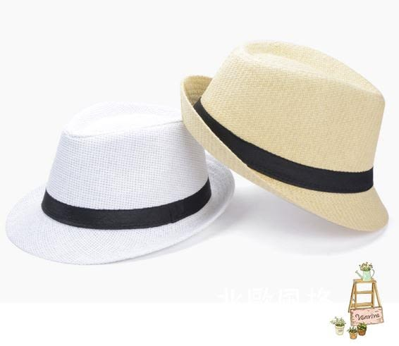 正韓潮男草編帽子英倫小禮帽女士戶外防?遮陽帽爵士帽海邊沙灘帽