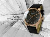 【時間道】mono 曼諾 時尚簡約防刮鏡面腕錶 / 黑木紋面玫瑰金殼黑皮帶(5028-396)免運費