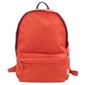【南紡購物中心】agnes b.條紋織布鐵環尼龍後背包(橘)