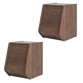 (組)日本IRIS木質可掀門堆疊櫃W30H40-深木色(二入)