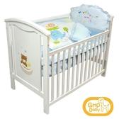 GMP BABY 睡熊白色嬰兒床(含聚酯棉床墊)+七件式寢具組/白熊 廠商直送 大樹