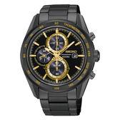 SEIKO Criteria時尚率性太陽能計時腕錶/黑金x黑鋼/V176-0AL0K