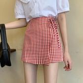 褲裙 高腰系帶不規則格子半身短褲裙女夏寬鬆顯瘦百搭學生休閒闊腿熱褲 歐歐