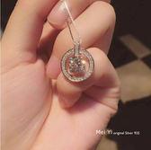 618好康鉅惠S925純銀鑲鋯石方圓項鍊鎖骨鍊女