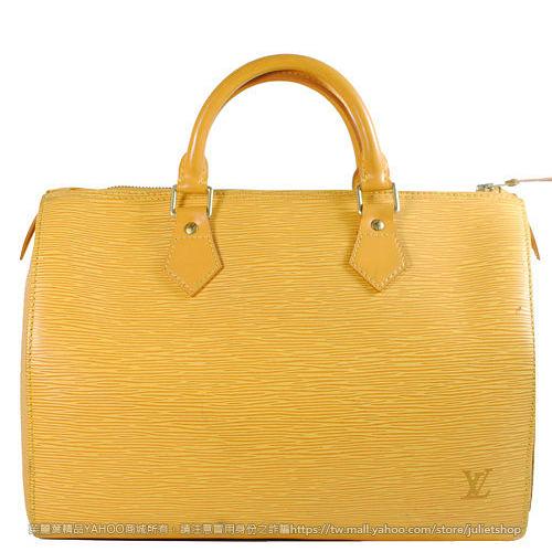 茱麗葉精品 二手名牌【8成新】Louis Vuitton LV M5194 EPI 水波紋Speedy 35 手提包.黃