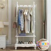 歐式實木衣帽架臥室掛衣架多功能簡約現代家用落地衣架客廳置物架 XW