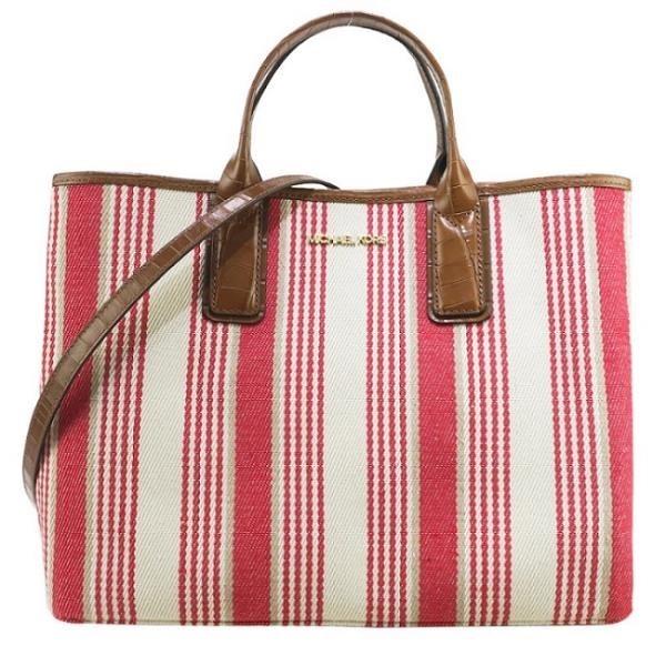 【南紡購物中心】MICHAEL KORS GREENWICH直條紋手提斜背兩用包-紅