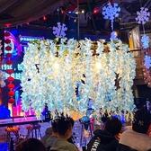 吊燈 植物音樂餐廳網紅店鋪裝飾酒吧烤吧咖啡廳藍藤蔓 現貨快出YJT