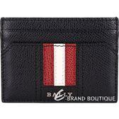 BALLY THAR 經典紅白條紋牛皮卡片夾(黑色) 1830263-01