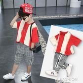 童裝男童夏裝套裝2018新款兒童中大童夏季運動兩件套短袖男孩潮裝-Ifashion