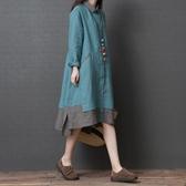 民族風連身裙 新款文藝復古撞色拼接中長款襯衫裙寬鬆顯瘦棉麻洋裝女-Ballet朵朵