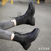 大尺碼馬丁靴女英倫風2019秋冬季新款針織襪靴百搭厚底帥氣短靴 XN7286『寶貝兒童裝』