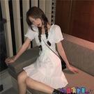 短袖連身裙 春季2021新款韓版收腰顯瘦設計感系帶方領泡泡短袖連身裙女裝裙子 寶貝計畫 618狂歡