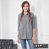 【JEEP】女裝 造型條紋印花長袖襯衫 (黑)