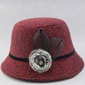 老人帽子女奶奶春秋天盆帽毛呢優雅時裝帽小禮帽中老年媽媽帽秋款
