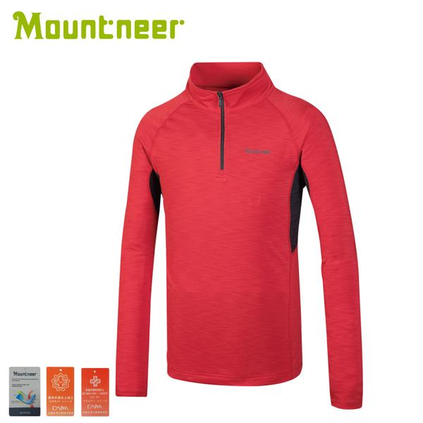 【Mountneer 山林 男遠紅雲彩保暖上衣《紅》】32P15/保暖上衣/長袖上衣/立領長袖
