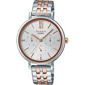 【台南 時代鐘錶 CASIO】SHEEN 宏崑公司貨 SHE-3064SPG-7A 浪漫羅馬三眼日期時尚晶鑽腕錶