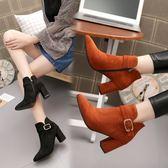 馬丁靴時尚短靴粗跟馬丁靴高跟短筒靴純色休閒裸靴舒適女鞋靴子
