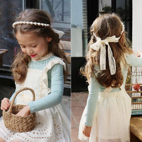 浪漫珍珠蕾絲髮圈髮帶 拍照 橘魔法 magic baby 現貨 髮帶 花童 禮服 畢業典禮