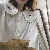 春秋新款百搭寬鬆設計感小眾襯衫減齡娃娃領長袖襯衣女學生上衣潮