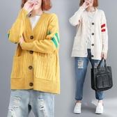 很仙的毛衣女 中長款秋冬胖mm大尺碼V領針織開衫外套