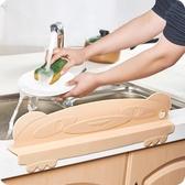 水槽擋水板 加厚廚房一體帶吸盤水槽擋水板廚房防水濺擋板水池隔水板支架 聖誕節