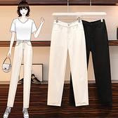 牛仔褲女中大尺碼M-5XL牛仔褲胖mm寬松顯瘦松緊腰老爹褲200斤F3F132韓衣裳