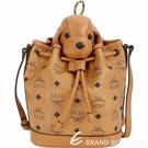 MCM 棕色小狗玩偶造型束口水桶包(玩偶可拆當鑰匙圈使用) 1840729-B3