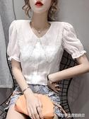 娃娃領上衣 夏季新款洋氣韓版超仙氣質雪紡襯衫女短袖百搭顯瘦娃娃領仙女上衣