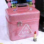 化妝箱 女大容量小號便攜韓國簡約收納盒大號手提化妝箱