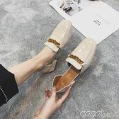 單鞋 方頭中粗跟豆豆鞋女春夏季新款韓版中空涼鞋金屬搭扣休閒 新品