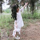 秋女童公主裙中小童鏤空蕾絲紗裙七分袖白色