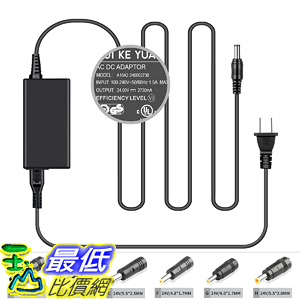 [107美國直購] 电源適配器 [UL Listed] TFDirect 24V 2.73A Universal Power Adapter with 6 Extra Tips