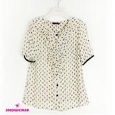 【SHOWCASE】麋鹿印花優雅荷葉領雪紡襯衫(米)