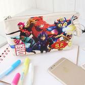 正版 大英雄天團 麻繩帆布收納包 筆袋 阿廣 杯麵 化妝包 收納包 萬用包 Big Hero 6 迪士尼