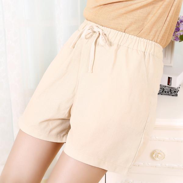 +GB231 亞麻五分褲女士外穿糖果彩色仿棉麻夏季寬鬆百搭闊腿褲 &小咪的店&