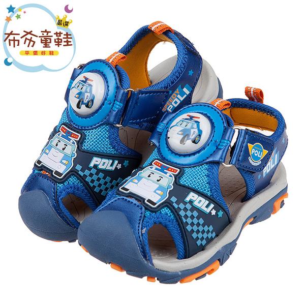 《布布童鞋》POLI救援小英雄波力藍色兒童電燈護趾涼鞋(15~19公分) [ B0E136B ]