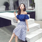 大韓訂製正韓洋裝點點裙套裝荷葉袖露肩上衣波點半身裙約會