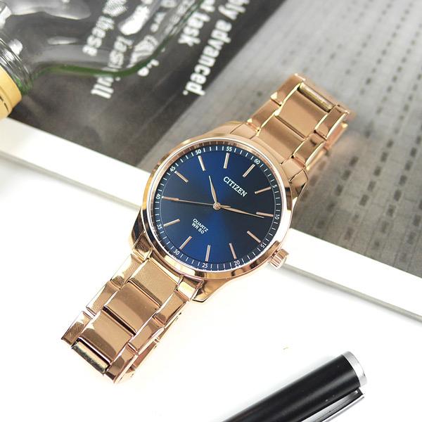 CITIZEN 星辰表 / BH5003-51L / 簡約時尚 礦石強化玻璃 日本機芯 不鏽鋼手錶 藍x鍍玫瑰金 42mm