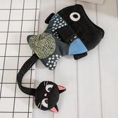 Kiro貓‧小黑貓與小金魚 立體造型 鋪棉 隱藏式 鑰匙包【222959】
