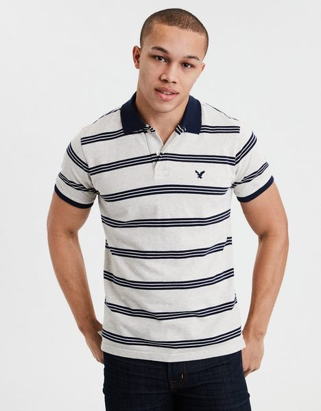 (BJGO) AMERICAN EAGLE_AE STRIPED BRUSHED PIQUE POLO SHIRT 經典老鷹條紋POLO衫
